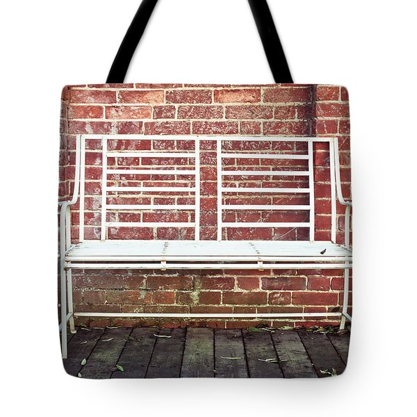 White bench Tote Bag by Tom Gowanlock