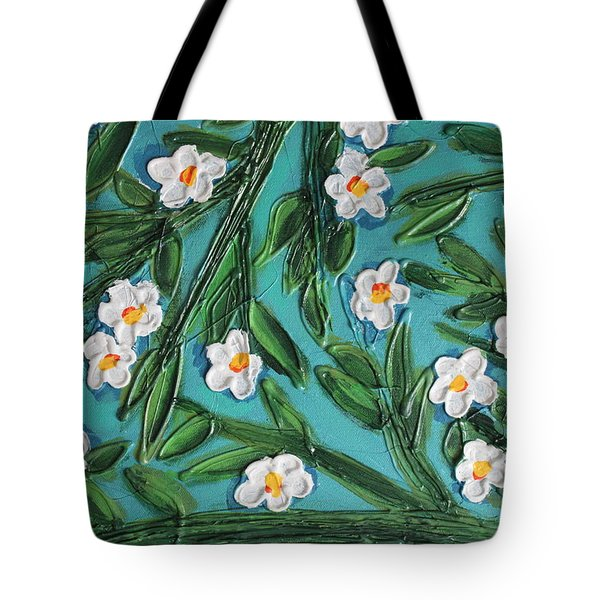 White Blooms Tote Bag by Cynthia Snyder