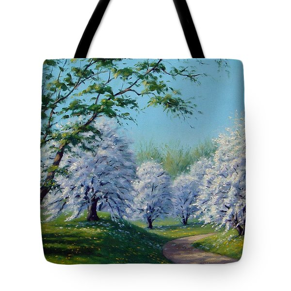 White Blossoms Tote Bag by Rick Hansen