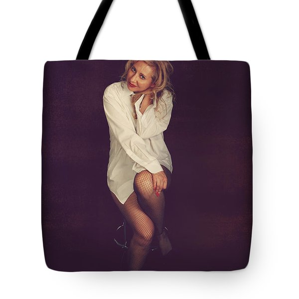 White Button-Down Tote Bag by Laurie Search