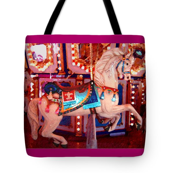 White Carousel Horse Tote Bag by Amy Vangsgard