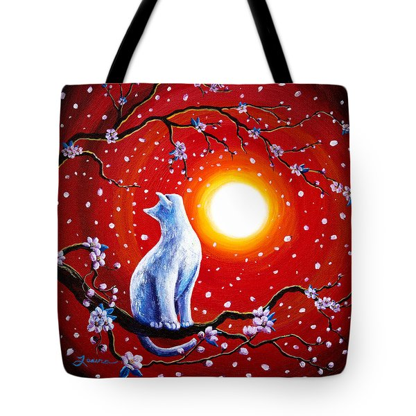 White Cat In Bright Sunset Tote Bag by Laura Iverson