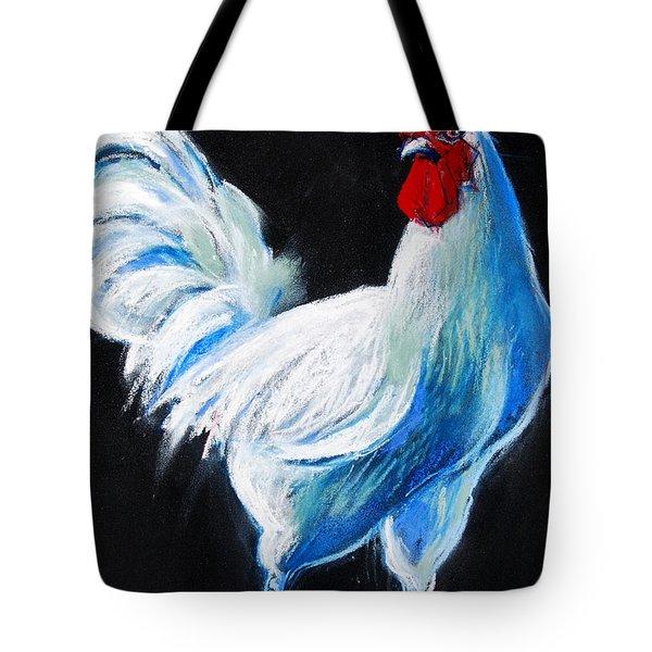 White Chicken Tote Bag by Mona Edulesco