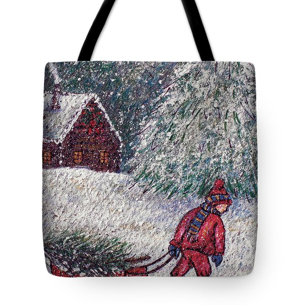 White Christmas Tote Bag by Natalie Holland