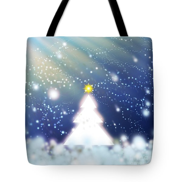 White Christmas Tree Tote Bag by Atiketta Sangasaeng