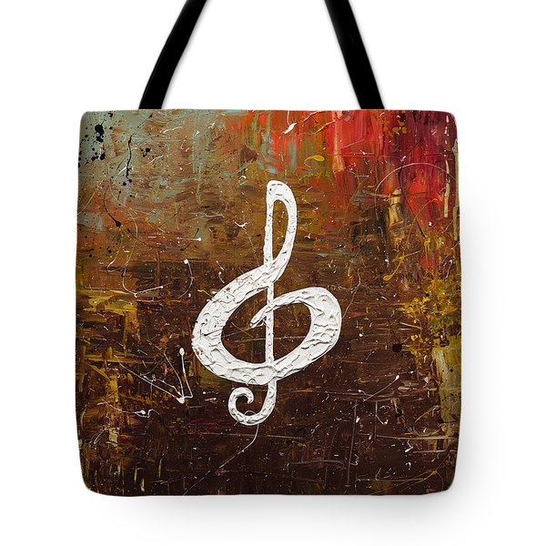 White Clef Tote Bag by Carmen Guedez