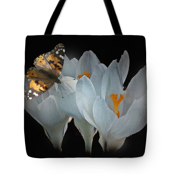White Crocus With Monarch Butterfly Tote Bag by Mikki Cucuzzo