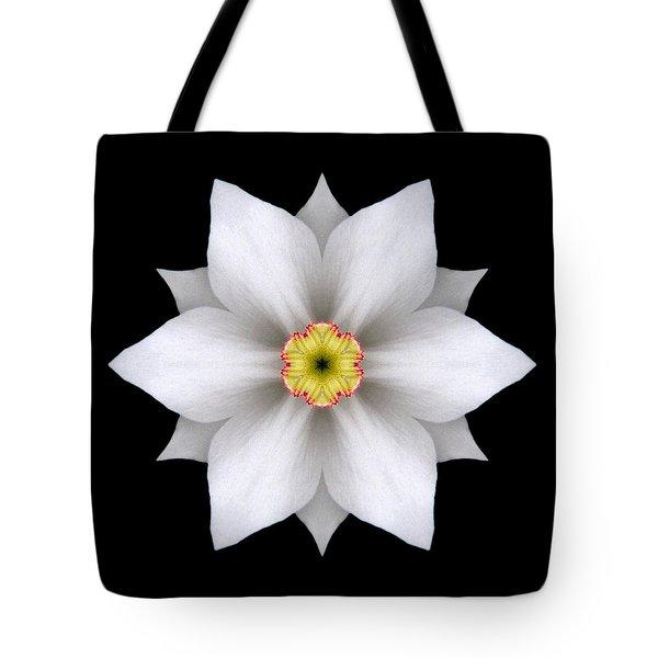 White Daffodil II Flower Mandala Tote Bag by David J Bookbinder