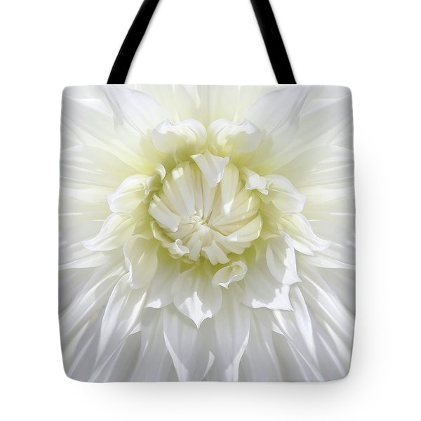 White Dahlia Floral Delight Tote Bag by Jennie Marie Schell