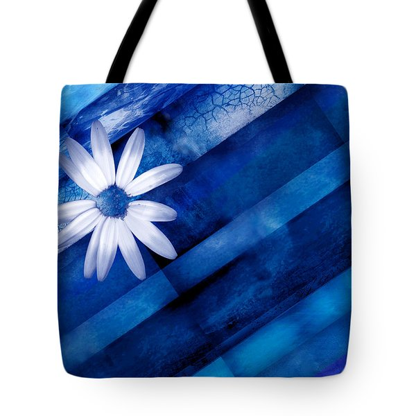 White Daisy On Blue Two Tote Bag by Ann Powell