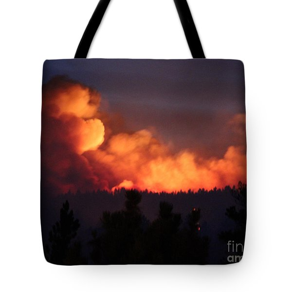Tote Bag featuring the photograph White Draw Fire First Night by Bill Gabbert