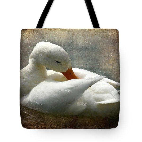 White Duck Tote Bag by Barbara Orenya