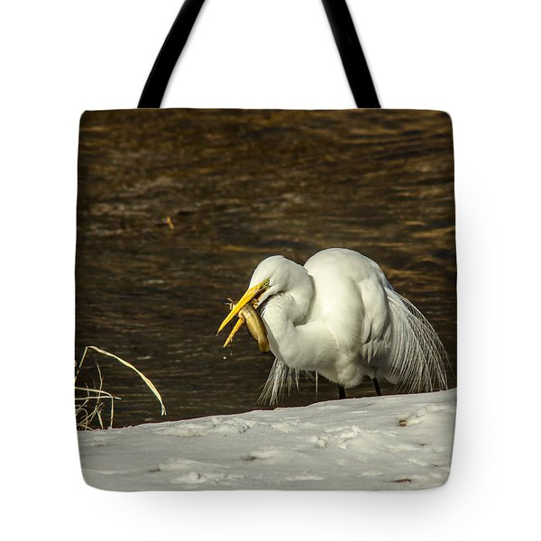 White Egret Snowy Bank Tote Bag by Robert Frederick
