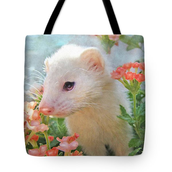 white ferret Tote Bag by Jane Schnetlage