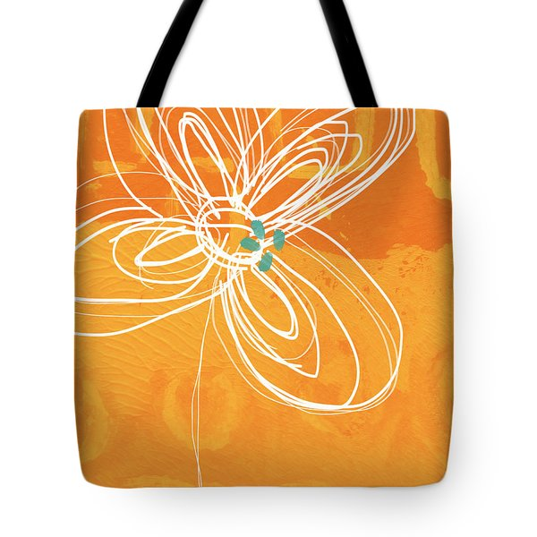 White Flower On Orange Tote Bag by Linda Woods