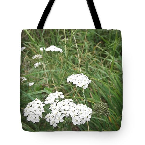 White Flowers Tote Bag by John Williams