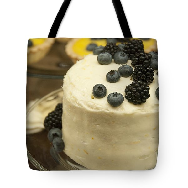 White Frosted Cake With Berries Tote Bag by Juli Scalzi
