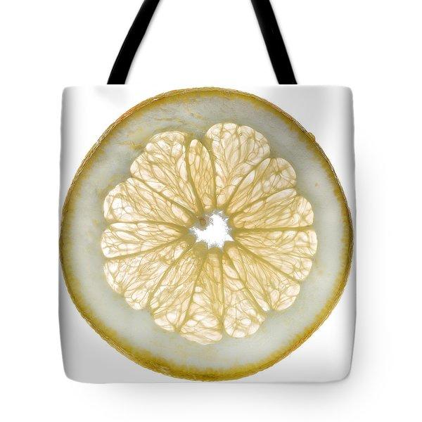White Grapefruit Slice Tote Bag by Steve Gadomski