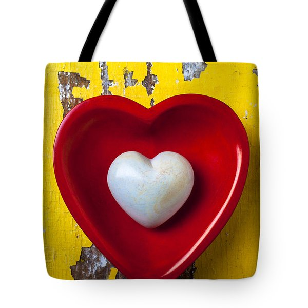 White heart red heart Tote Bag by Garry Gay