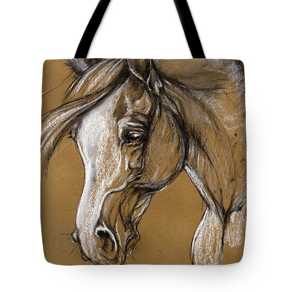 White Horse Soft Pastel Sketch Tote Bag by Angel  Tarantella