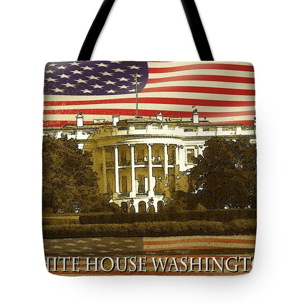 White House Washington - Patriotic Poster Tote Bag by Peter Fine Art Gallery  - Paintings Photos Digital Art