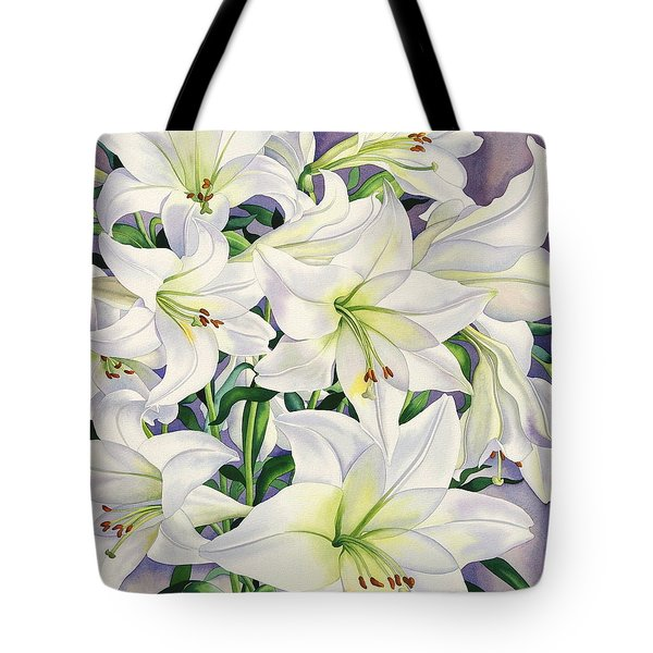 White Lilies Tote Bag by Christopher Ryland