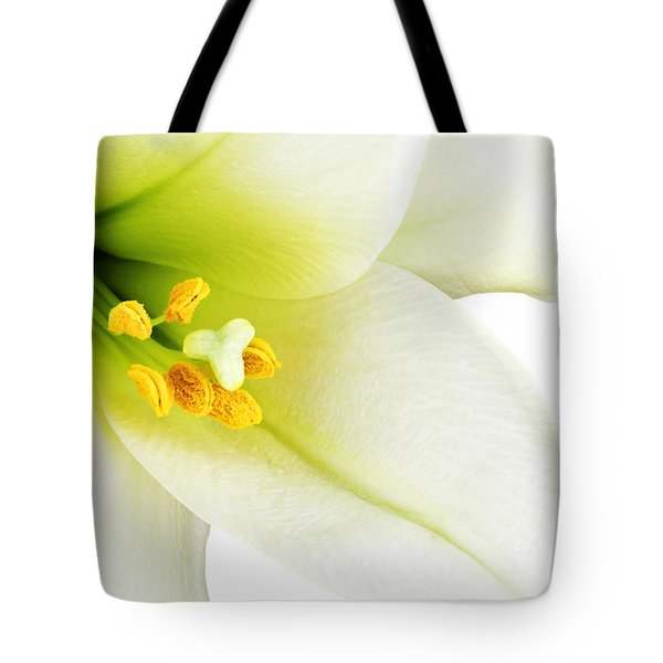White lilly macro Tote Bag by Johan Swanepoel