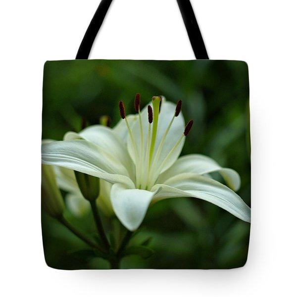 White Lily Tote Bag by Sandy Keeton