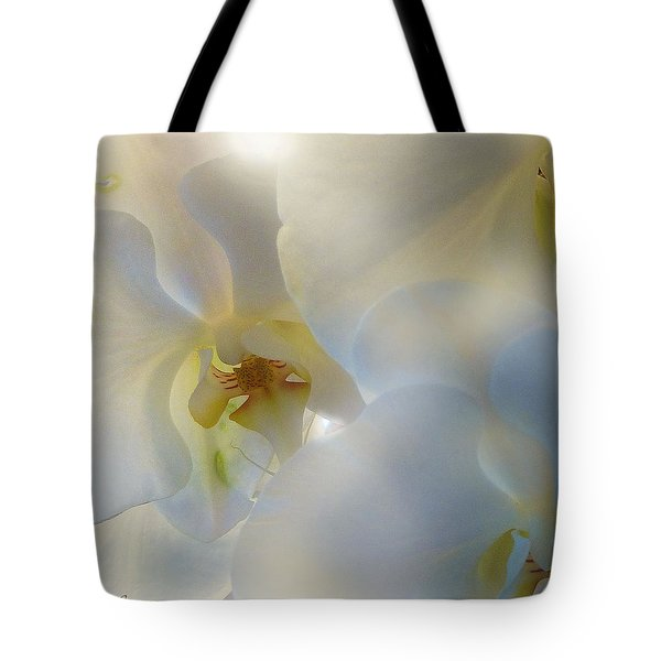 White Orchids Tote Bag by Mikki Cucuzzo