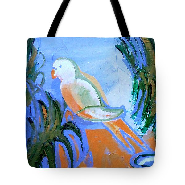 White Parakeet Tote Bag by Genevieve Esson