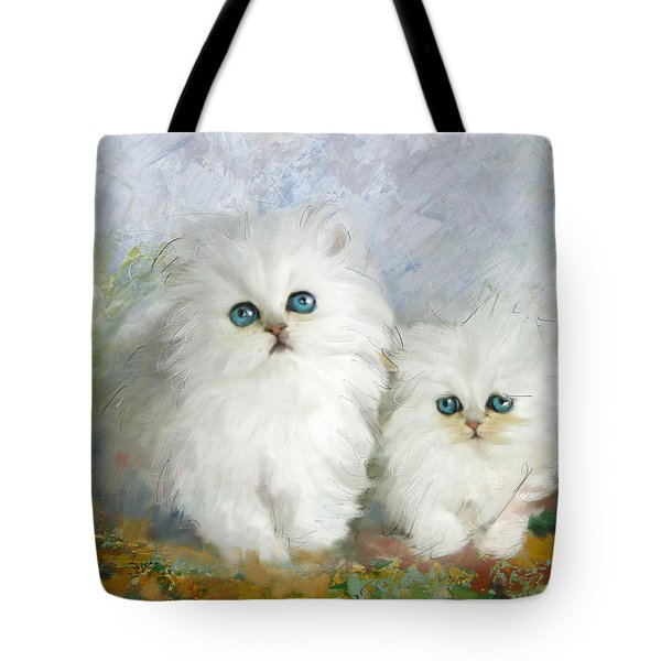 White Persian Kittens  Tote Bag by Catf