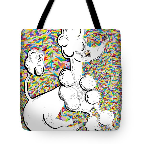 White Poodle Tote Bag by Eloise Schneider