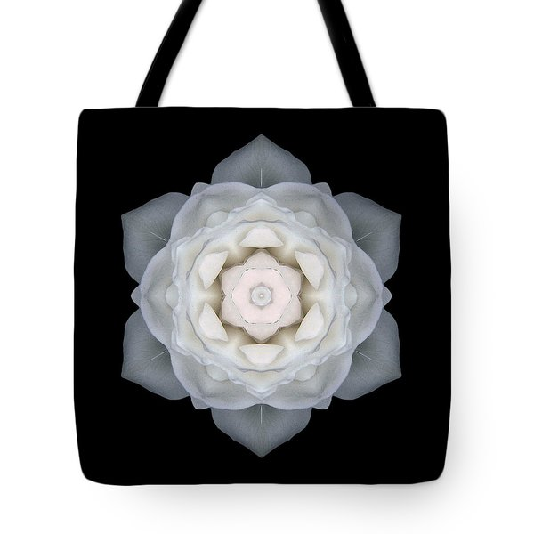 White Rose I Flower Mandala Tote Bag by David J Bookbinder