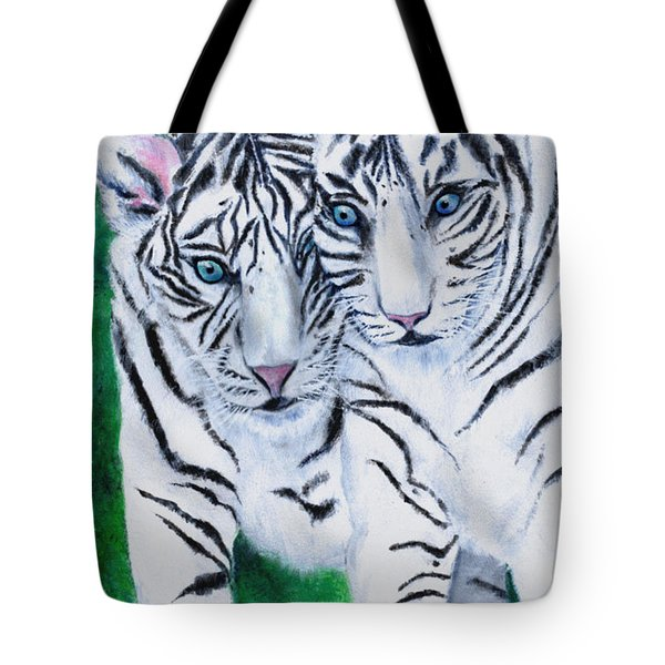 White Tiger Cubs Tote Bag by Bette Orr