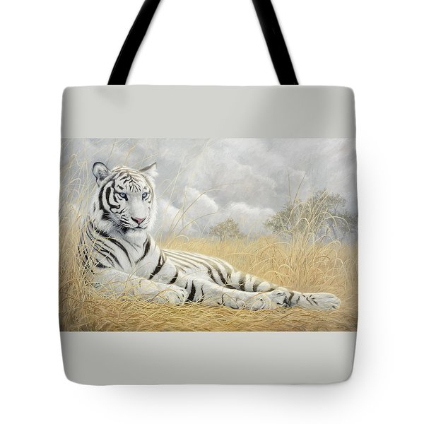 White Tiger Tote Bag by Lucie Bilodeau