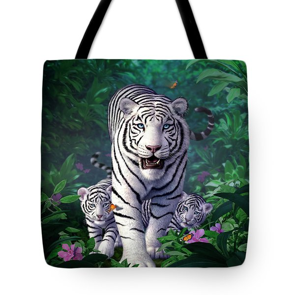 White Tigers Tote Bag by Jerry LoFaro