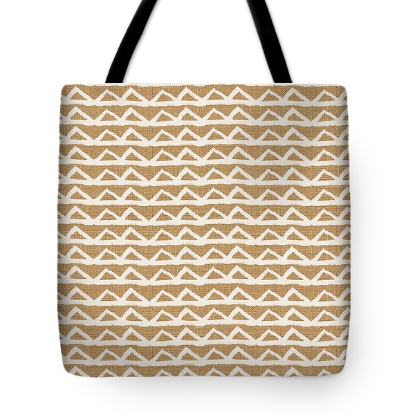 White Triangles On Burlap Tote Bag by Linda Woods