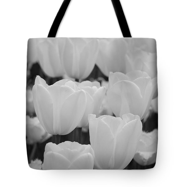 white tulips b/w Tote Bag by Jennifer Lyon