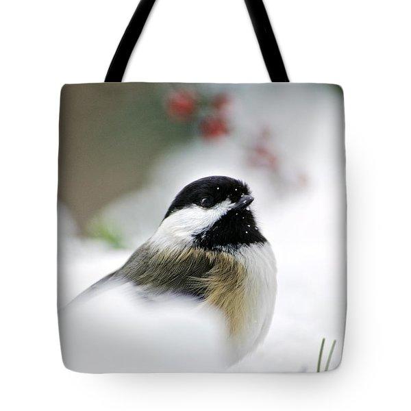 White Winter Chickadee Tote Bag by Christina Rollo