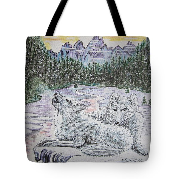 White Wolves Tote Bag by Kathy Marrs Chandler