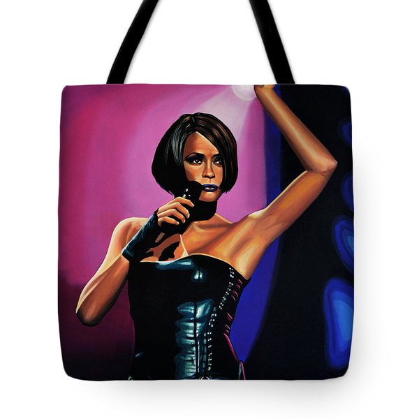 Whitney Houston On Stage Tote Bag by Paul Meijering