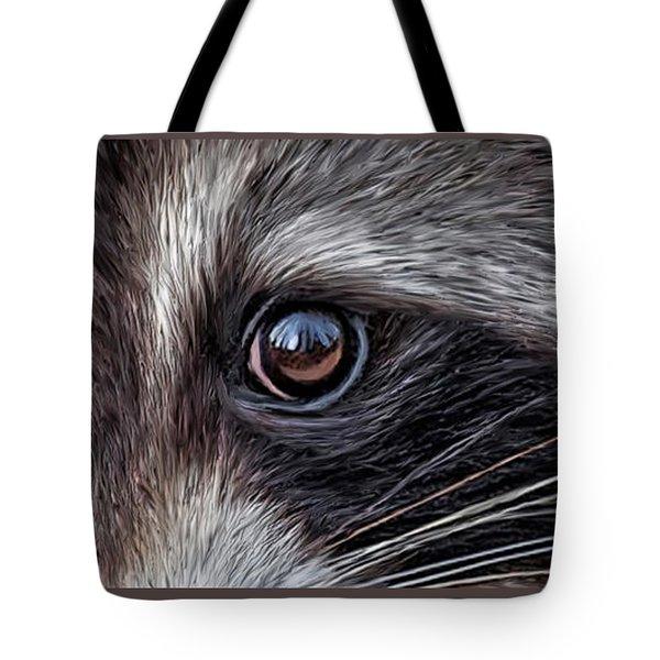 Wild Eyes - Raccoon Tote Bag by Carol Cavalaris