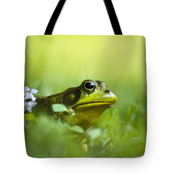 Wild Green Frog Tote Bag by Christina Rollo