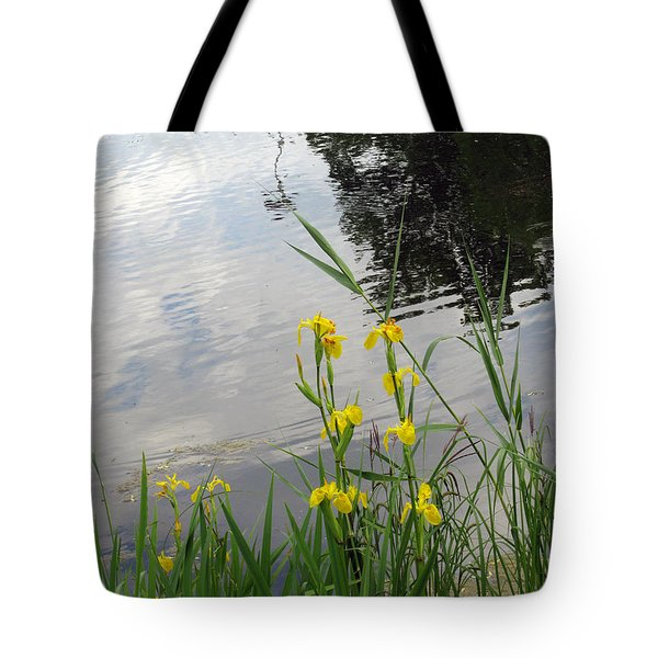 Wild Iris By The Pond Tote Bag by Ausra Paulauskaite