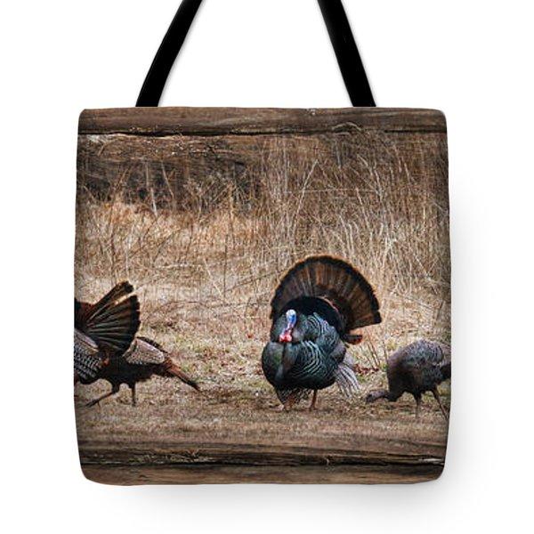 Wild Turkeys Tote Bag by Lori Deiter