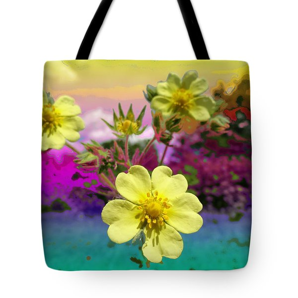 Wildflower Abstract Tote Bag by Mike Breau