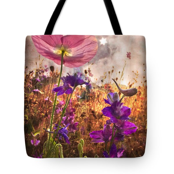 Wildflowers At Dawn Tote Bag by Debra and Dave Vanderlaan