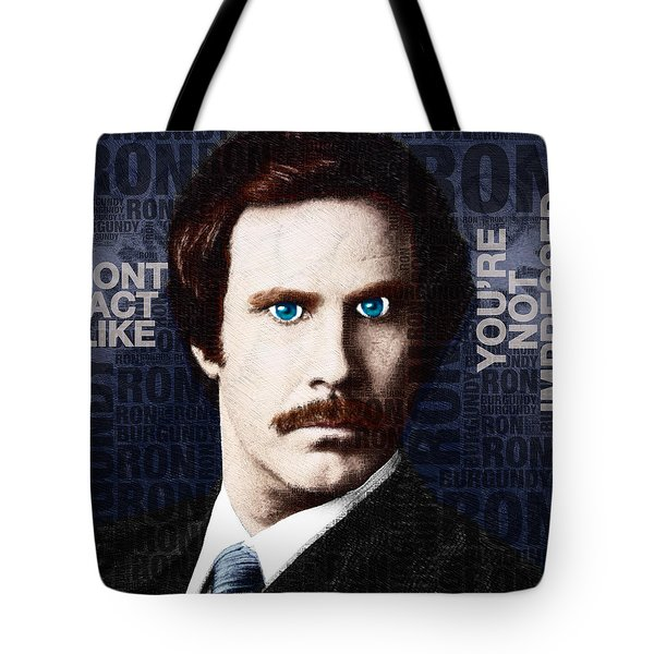 Will Ferrell Anchorman The Legend Of Ron Burgundy Words Color Tote Bag by Tony Rubino