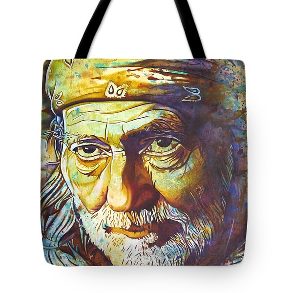 Willie Nelson-funny How Time Slips Away Tote Bag by Joshua Morton