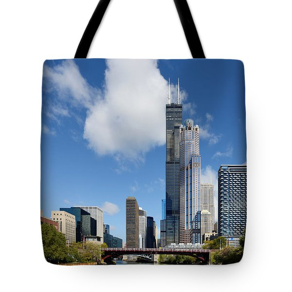 Willis Tower and 311 South Wacker Drive Chicago Tote Bag by Christine Till